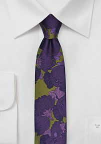 Retro Skinny Floral Tie in Chartreuse and Purple