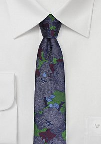 Retro Inspired Skinny Tie in Forest Green and Purple