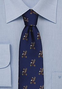 Navy Silk Tie with Embroidered Bald Eagles