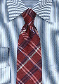 Cherry Red and Midnight Blue Plaid Tie