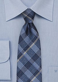 French Blue Textured Plaid Tie in Pure Silk