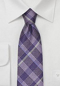 Wisteria Plaid Tie in Pure Silk