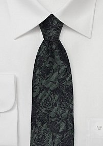Woven Silk and Wool Skinny Tie with Floral Design in Dark Forest Green