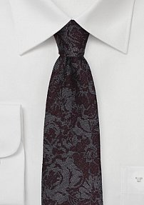 Skinny Wool Floral Tie in Charcoal and Burgundy