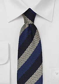 Wool and Silk Striped Tie in Blue and Gray