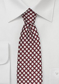 Crimson Red Wool Tie with Polka Dots in Gray