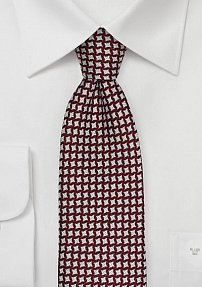 Houndstooth Checkered Tie in Crimson Red