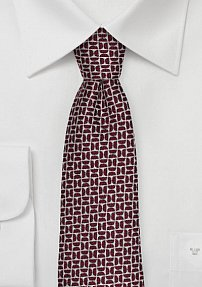 Woven Silk and Wool Blend Autumn Tie in Crimson Red