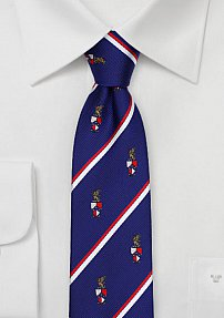 Coat of Arms Skinny Striped Tie for Beta Theta Pi