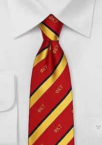 Red and Gold Striped Silk Tie for Phi Kappa Tau