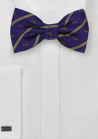 Purple and Gold Striped SAE Bow Tie