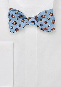 Self Tied Floral Bow Tie in Light Blue
