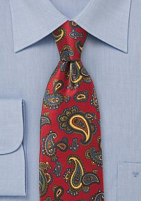 Luxe Paisley Tie in Imperial Red