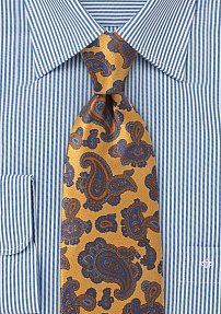 Luxe Paisley Tie in Designer Golds and Blues