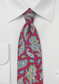French Paisley Silk Tie in Cherry, Blue, and Yellow