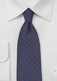 Dot Print Silk Tie in Navy and Red