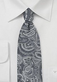 Trendy Bandana Print Cotton Tie in Gray
