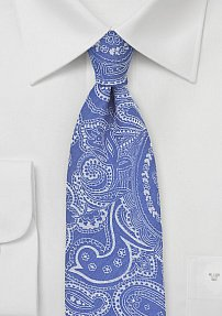 Blue Cotton Summer Tie with Bandanna Style Print