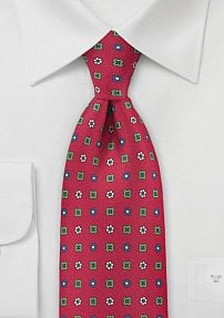 Bright Red Emblem Patterned Tie