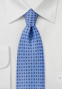 Geometric Mens Tie in Soft Blues and Reds