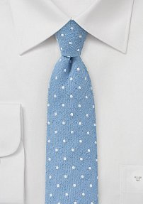 Designer Skinny Tie with Polka Dots in Blue