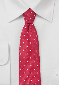 Slim Polka Dot Tie in Red and White
