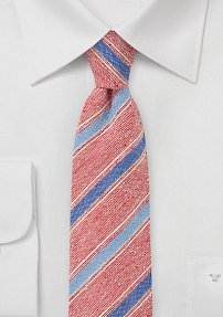 Designer Skinny Tie in Reds and Blues
