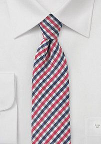 Modern Seersucker Skinny Tie in Pinks and Blues