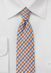 Slim Gingham Tie in Blues and Oranges