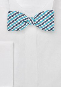 Designer Self Tie Bow Tie in Blue Gingham