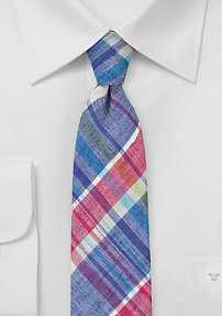 Bold Colored Madras Skinny Linen Tie