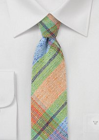 Skinny Plaid Tie in Orange, Green, Blue