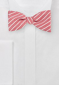 Red and White Striped Linen Bow Tie