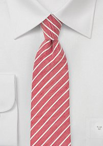 Linen Summer Tie in Red and White