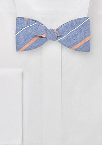 Designer Striped Bow Tie in Blues and Oranges