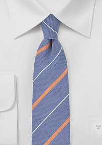 Textured Striped Tie in Vintage Blue and Orange