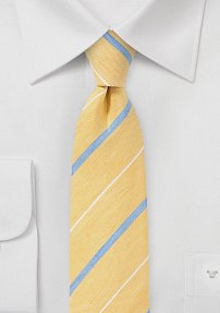 Designer Retro Skinny Tie in Soft Yellows