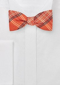 Chic Plaid Bow Tie in Tangerines