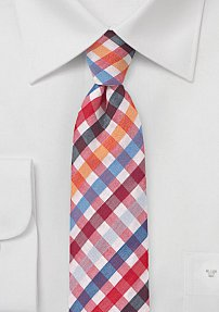 Skinny Seersucker Tie in Red and Blue