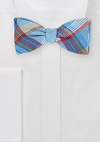 Designer Madras Plaid Bow Tie
