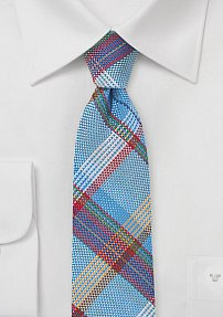 Light Blue Madras Plaid Skinny Tie