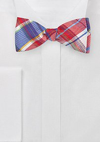 Graphic Plaid Bow Tie in Reds and Blues