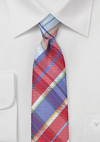 Ultra Slim Plaid Tie in Reds and Blues