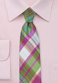 Extra Slim Plaid Designer Tie