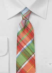 Handsome Slim Plaid Tie in Oranges and Greens