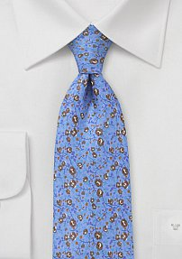 Modern Floral Tie in French Blue