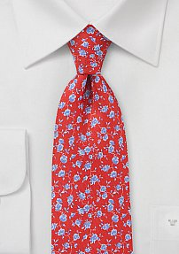 Summer Floral Tie in Coral Reds