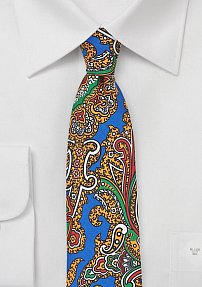 Bold Skinny Paisley Tie in Blue, Green, Gold