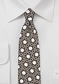 Vintage MOD Skinny Tie in Coffee Brown and White