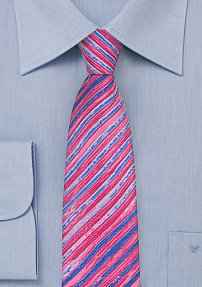 Tie Dye Stripe Skinny Tie in Magenta Pink and Purple